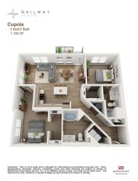 Cupola Floor Plan - 2 Bed/2 Bath