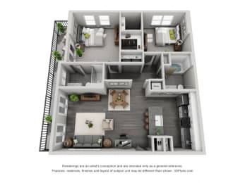 2a20 Floor Plan at 1400 Chestnut, Tennessee