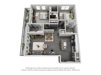 2b20 Floor Plan  at 1400 Chestnut, Chattanooga, Tennessee