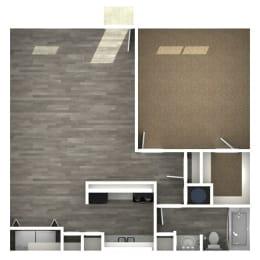 Floor Plan 1 Bedroom | E