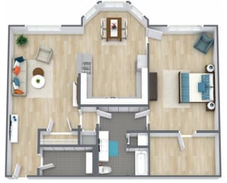 Floor Plan 1 Bedroom 1 Bath, opens a dialog