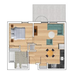1 Bedroom C Floor Plan at Block C, San Marcos, California