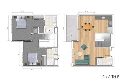 Townhouse 2 Bedroom BK Floor Plan at Block C, San Marcos, CA
