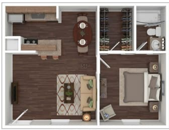 Floor Plan 1 Bed | 1 Bath B