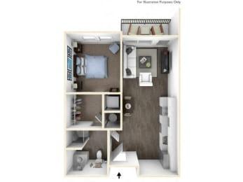 275.1B-A 3D Floor Plan at The George & The Leonard, Atlanta, 30312