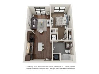301.1B Floor Plan Layout at The George & The Leonard, Atlanta, 30312