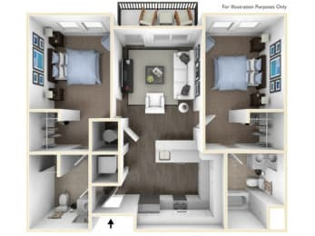 275.2B-A 3D Floor Plan at The George & The Leonard, Atlanta