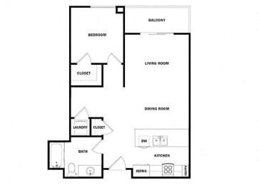 One bedroom floor plan l Celsius Apartments for rent in Lemon Grove, CA