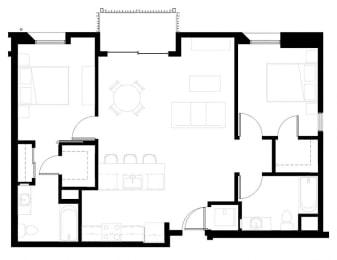Two bedroom floor plan l Celsius Apartments for rent in Lemon Grove, CA