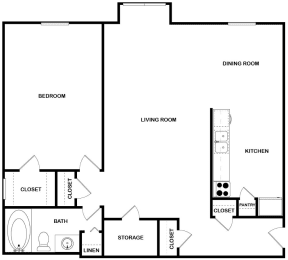 Floor Plan 1 Bed | 1 Bath, opens a dialog