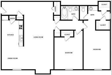 Floor Plan 2 Bed | 1.5 Bath, opens a dialog