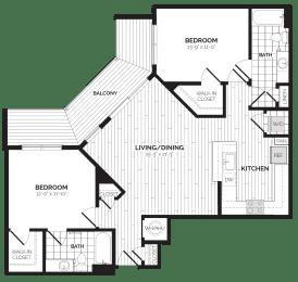 B3 Floor Plan at Rivergate, Woodbridge, VA, 22191