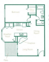 Floor Plan 1 Bed 1 Bath  A