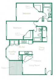 Floor Plan 2 Bed 2 Bath  A