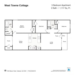 Three Bedroom Floor Plan at West Towne Cottages, Georgia