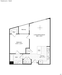 702 square foot one bedroom apartment