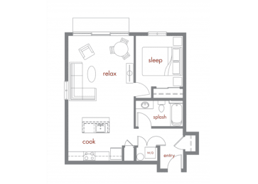 Bamboo Floor Plan at Tivalli Apartments, Lynnwood, WA