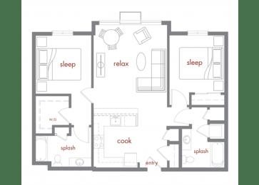 Juniper Floor Plan at Tivalli Apartments, Washington