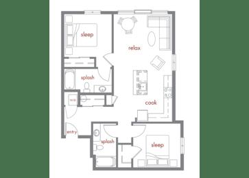 Maple Floor Plan at Tivalli Apartments, Washington