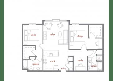 Pine Floor Plan at Tivalli Apartments, Lynnwood, 98087