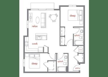 Ponderosa Floor Plan at Tivalli Apartments, Lynnwood, WA, 98087