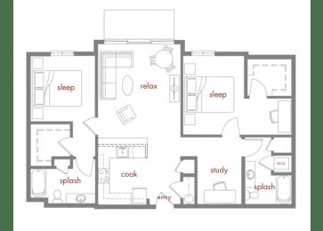 Sequoia Floor Plan at Tivalli Apartments, Lynnwood, Washington