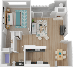 A 1 Bed 1 bath Floor Plan at Marina Village Apartments, Nevada, 89434
