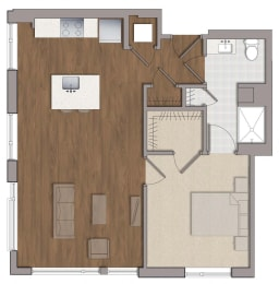 A1 Floor Plan at The George, Maryland, 20902