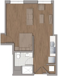 S3 Studio Floor Plan at The George, Wheaton, MD, 20902