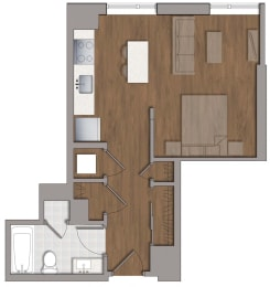 S5 Studio Floor Plan at The George, Wheaton, MD, 20902