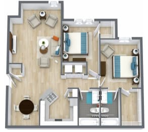 Floor Plan 2 bed, 2 bath