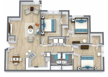 Floor Plan 3 bed, 2 bath