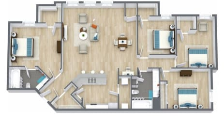 Floor Plan 4 bed, 2 bath
