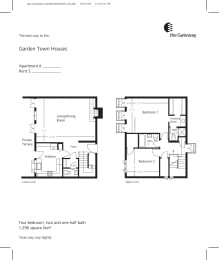 Town house floor plan 1327 sf