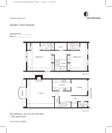 Town house floor plan 1533 sf