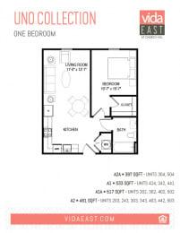Floor Plan Uno Collection (One Bedroom, A1, A2)