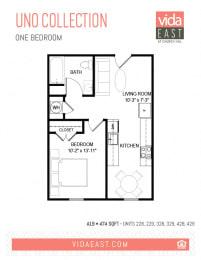 Floor Plan Uno Collection (One Bedroom, A19)