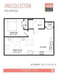 Floor Plan Uno Collection (One Bedroom, A11)