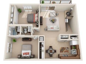 B Floor Plan at Foxboro Apartments, Wheeling, IL
