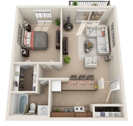 C Floor Plan at Foxboro Apartments, Wheeling, 60090