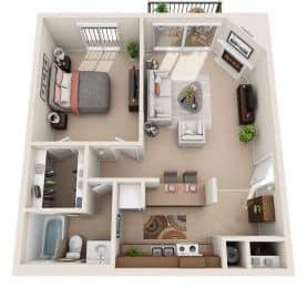 E Floor Plan at Foxboro Apartments, Wheeling