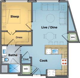 One Bed One Bath Floor Plan at Cameron Square, Virginia, 22304