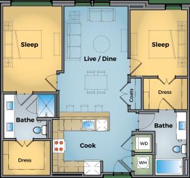 Two bedroom Two bathroom Floor Plan at Cameron Square, Alexandria, 22304