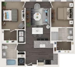 Two Bed Two Bath Floor Plan at Cameron Square, Alexandria, 22304