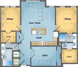 2 Bed + Office Floor Plan at Cameron Square, Alexandria