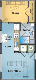 One Bed One Bath Floor Plan at Cameron Square, Alexandria, VA, 22304