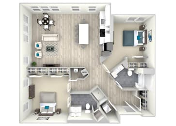 Two Bed Two Bath 1149 Floor Plan at Nightingale, Rhode Island
