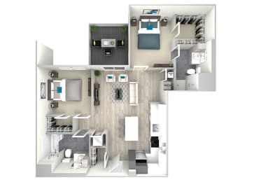 Two Bed Two Bath with Patio 1099 Floor Plan at Nightingale, Providence, RI