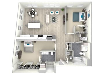 Two Bed Two Bath 1157 Floor Plan at Nightingale, Providence