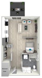 Studio One Bathroom with Patio 502 Floor Plan at Nightingale, Providence, RI, 02903